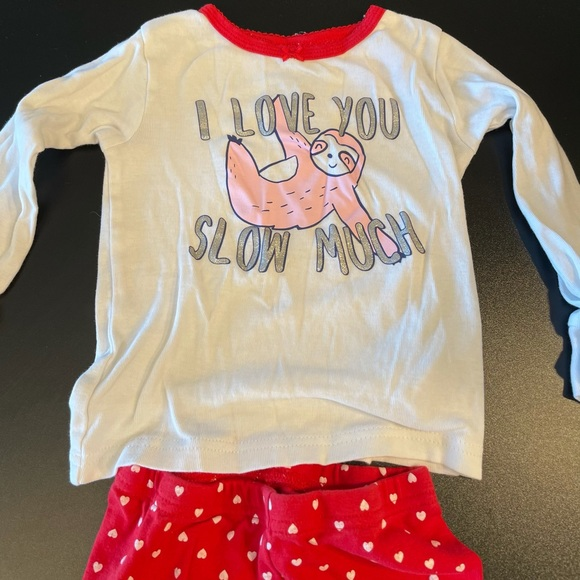 2T white and red sloth pajamas.